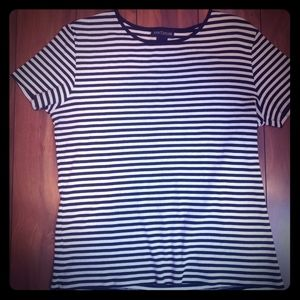 Ann Taylor stripped  navy blue and white top